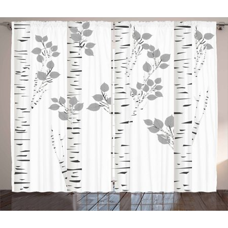 Birch Tree Curtains 2 Panels Set  Artistic White Branches With Leaves Autumn Nature Forest Inspired  Window Drapes For Living Room Bedroom  108W X 90L Inches  Light Grey Black White  By Ambesonne