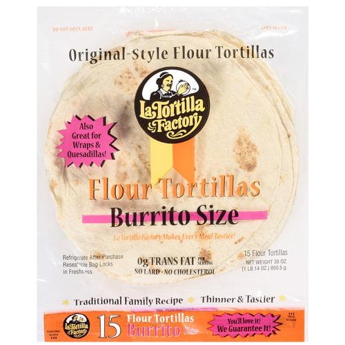 La Tortilla Factory Original Style Flour Burrito Size Tortillas, 15 ct