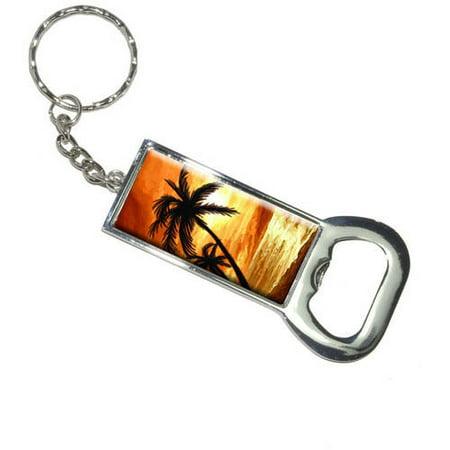 palm trees and sunset orange beach tropical ocean keychain bottle bottlecap opener. Black Bedroom Furniture Sets. Home Design Ideas