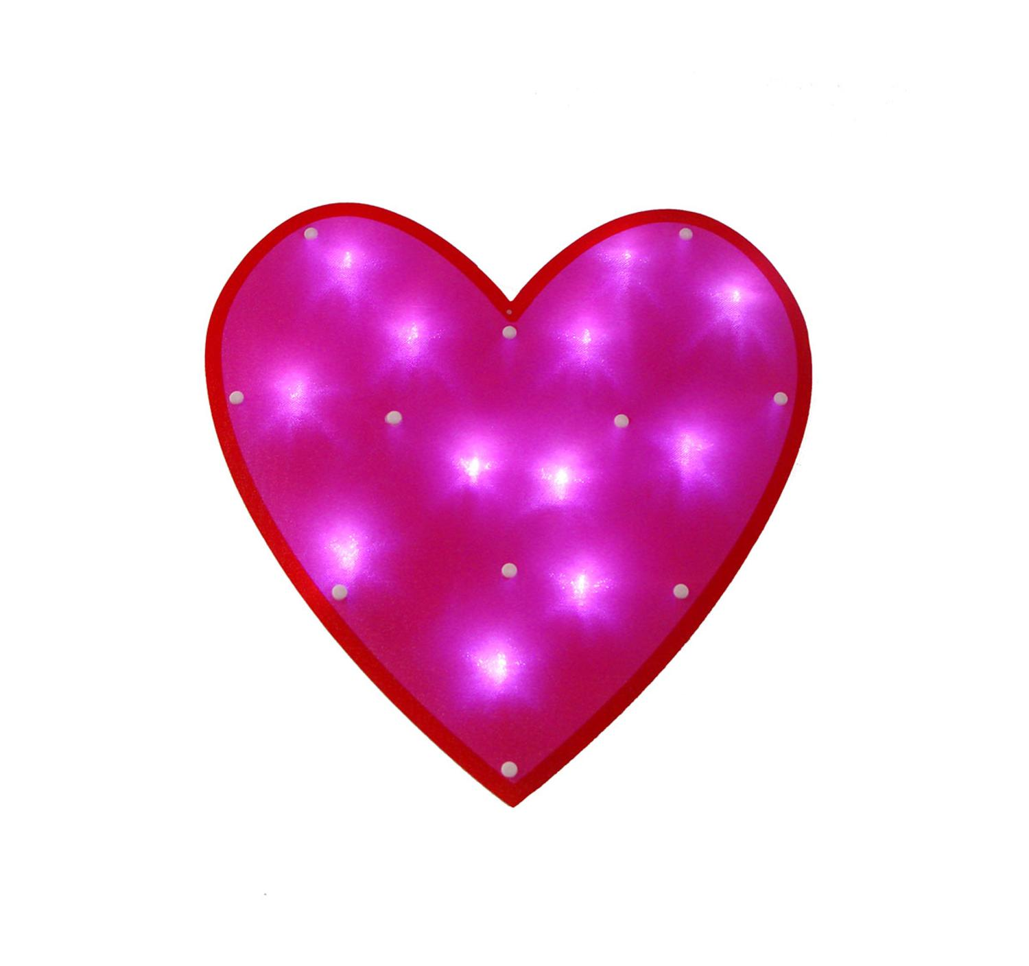 "15"" LED Lighted Pink Valentine's Day Heart Window Silhouette Decoration"