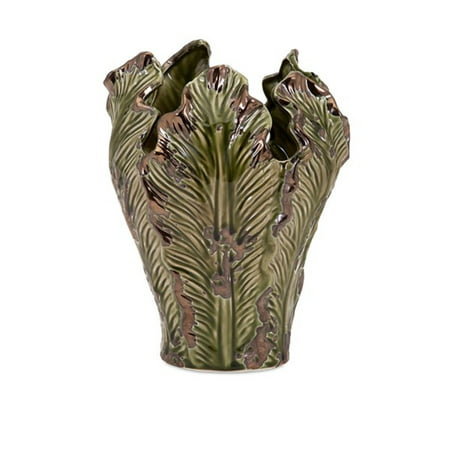 "Green Rustic Vases - 11"" Rustic Green Glazed Burton Decorative Tall Organic Ceramic Vase"