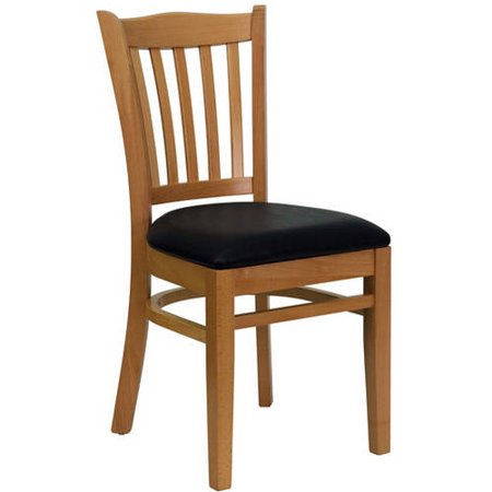 Slat Back Chairs - Set of 2, Natural with Black Vinyl Seat ()