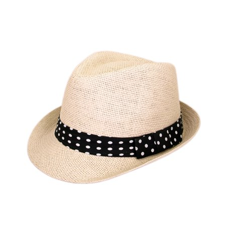 Golf Straw Fedora Hat (Polka Dot Band Natural Fedora Straw Hat)