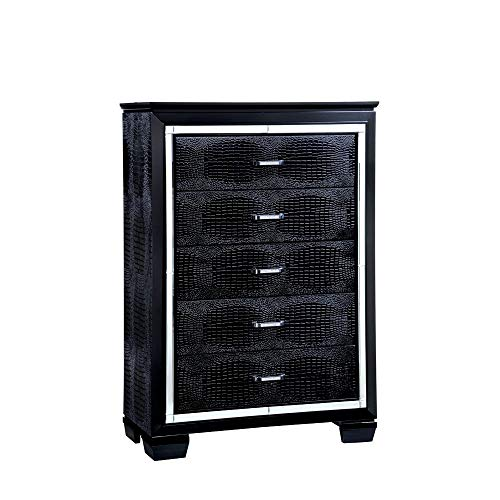 Crocodile Textured Wooden 5 Drawer Chest, Black