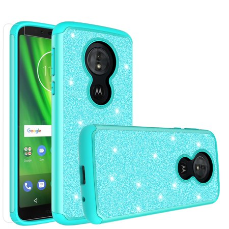 Moto G6 Play,Moto G6 Forge,Moto E5 Case,Cute Women Girls Glitter Bling Silicone Shock Proof Hybrid Case [Screen Protector] Dual Layer Protective Phone Case Cover for Motorola Moto G6 Play - Mint - image 6 de 6