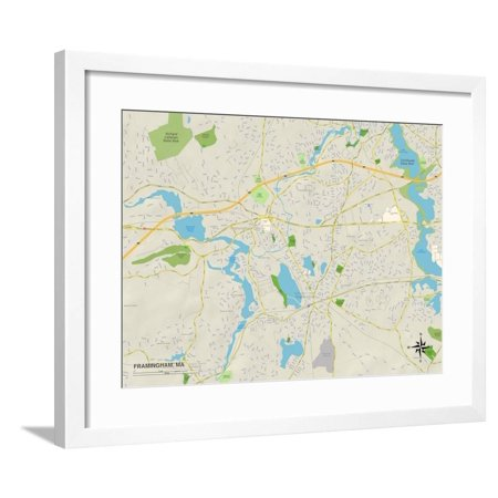 Political Map of Framingham, MA Framed Print Wall (Map Framed Print)