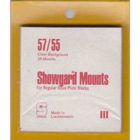 Showgard Stamp Mounts - Clear Back, Precut Style, Size 57/55 - Package of 25 -