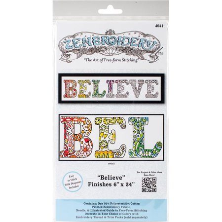Design Works Zenbroidery Fabric 6x24 BELIEVE