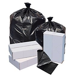 1.5 Mil Liners (Highmark™ Repro Trash Liners, 1.5 mil, 60 Gallons, 70% Recycled, Black, Box Of 100 Liners)