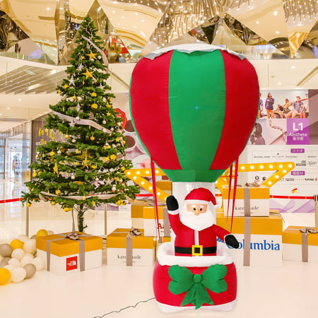 Kinbor 6Ft Inflatable Santa Hot Air Balloon Airblown Yard Decoration