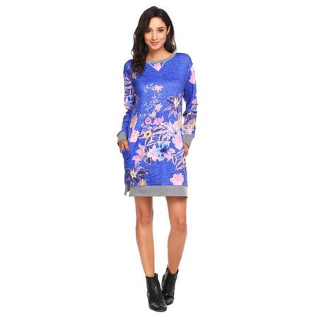 Women Long Sleeve Floral Tee Dress Loose Mini Casual Shift Dress HITC