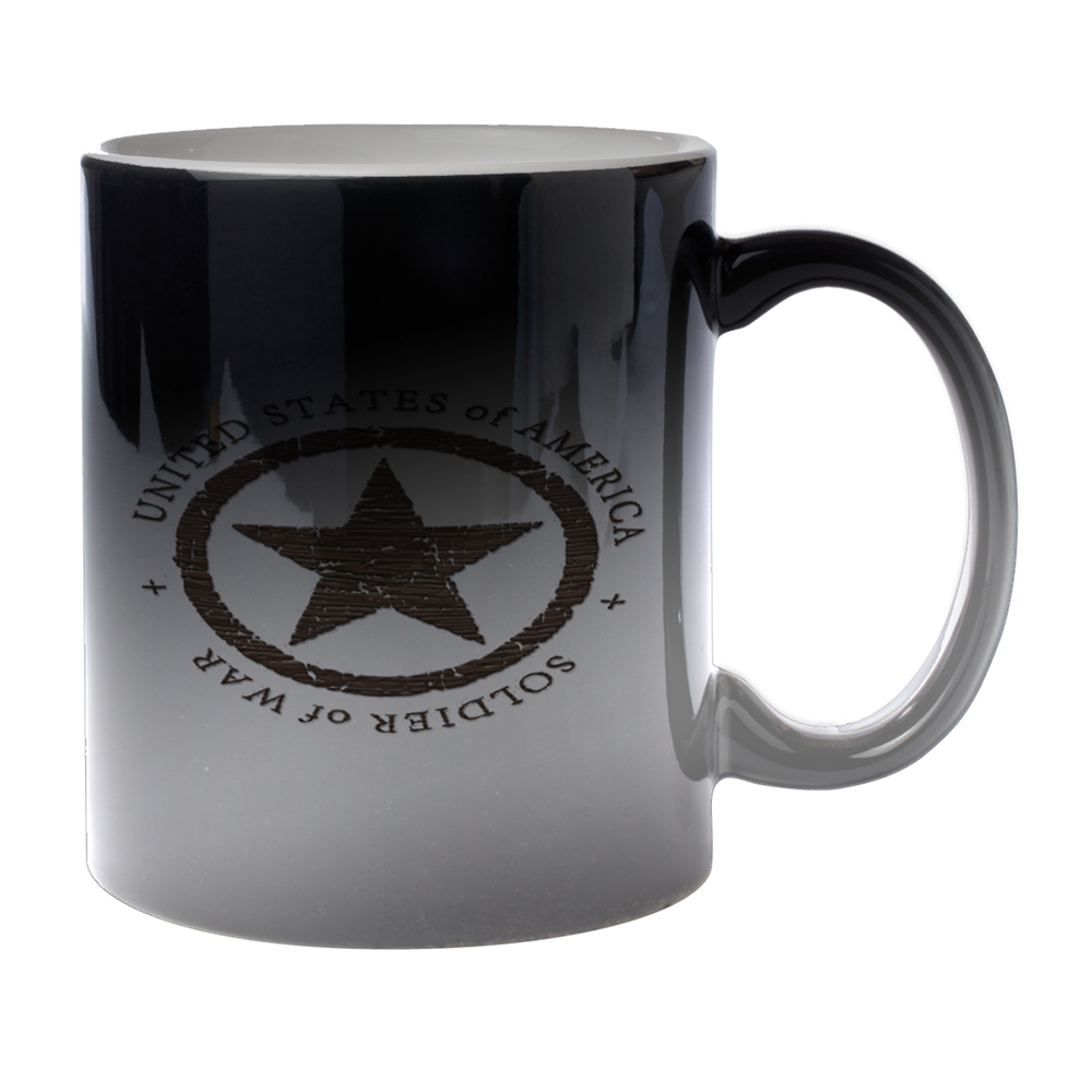 KuzmarK Black Heat Morph Color Changing Coffee Cup Mug 11 Ounce - Military Soldier Of War Wood Star