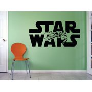 Star Wars Logo Mural Movie Series Jet Art Decor Silhouette Custom Wall Decal Vinyl Peel & Stick Sticker 12 Inches X 18 Inches