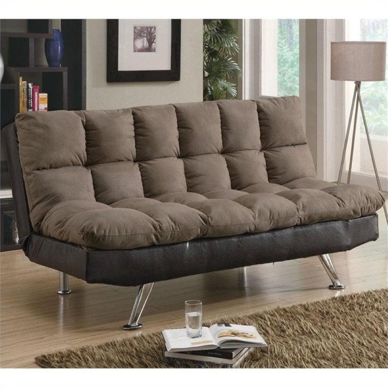 Bowery Hill Plush Microfiber Convertible Sofa in Brown