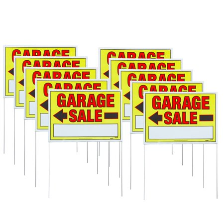Sunburst Systems 10 Pack of Medium Double-Sided Garage Sale Signs with U-Stakes