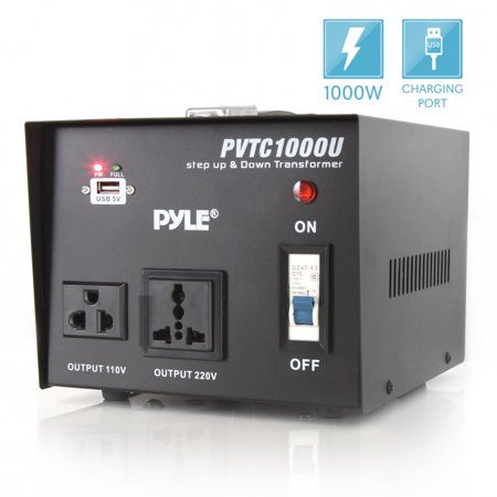 PYLE-METERS PVTC1000U - Step Up and Step Down 1000 Watt Voltage Converter Transformer with USB Charging Port - AC 110/220 V