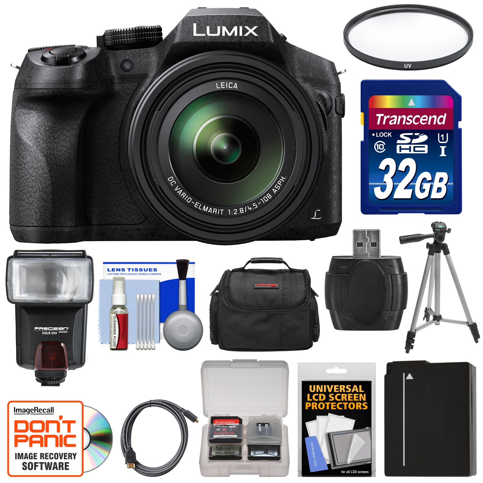 Panasonic Lumix DMC-FZ300 4K Wi-Fi Digital Camera with 32GB Card + Battery + Case + Tripod + Flash + Filter + Kit