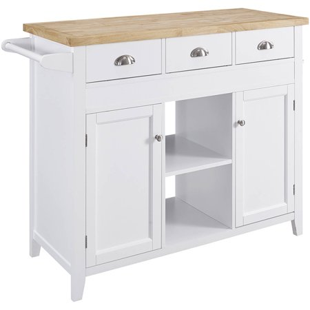 Linon Sheridan Kitchen Cart, White, with Pull Out Table