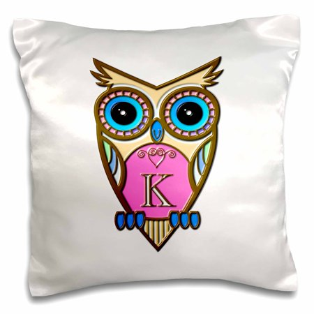 3dRose Gorgeous Pink and Blue Owl Monogram Letter K - Pillow Case, 16 by 16-inch