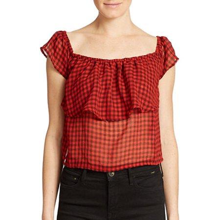 GUESS Women's Flutter Sleeve Ruffled Red Hot Multi Crop Top Size XL