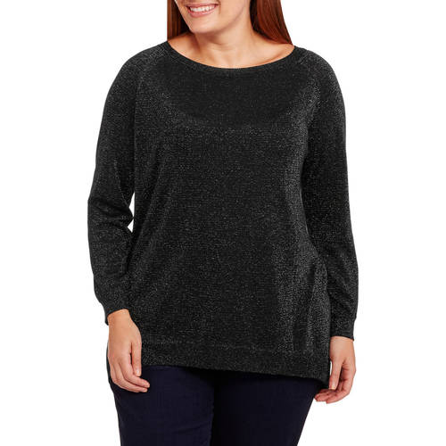 Concepts Women's Plus Tunic Metallic Blend Sweater