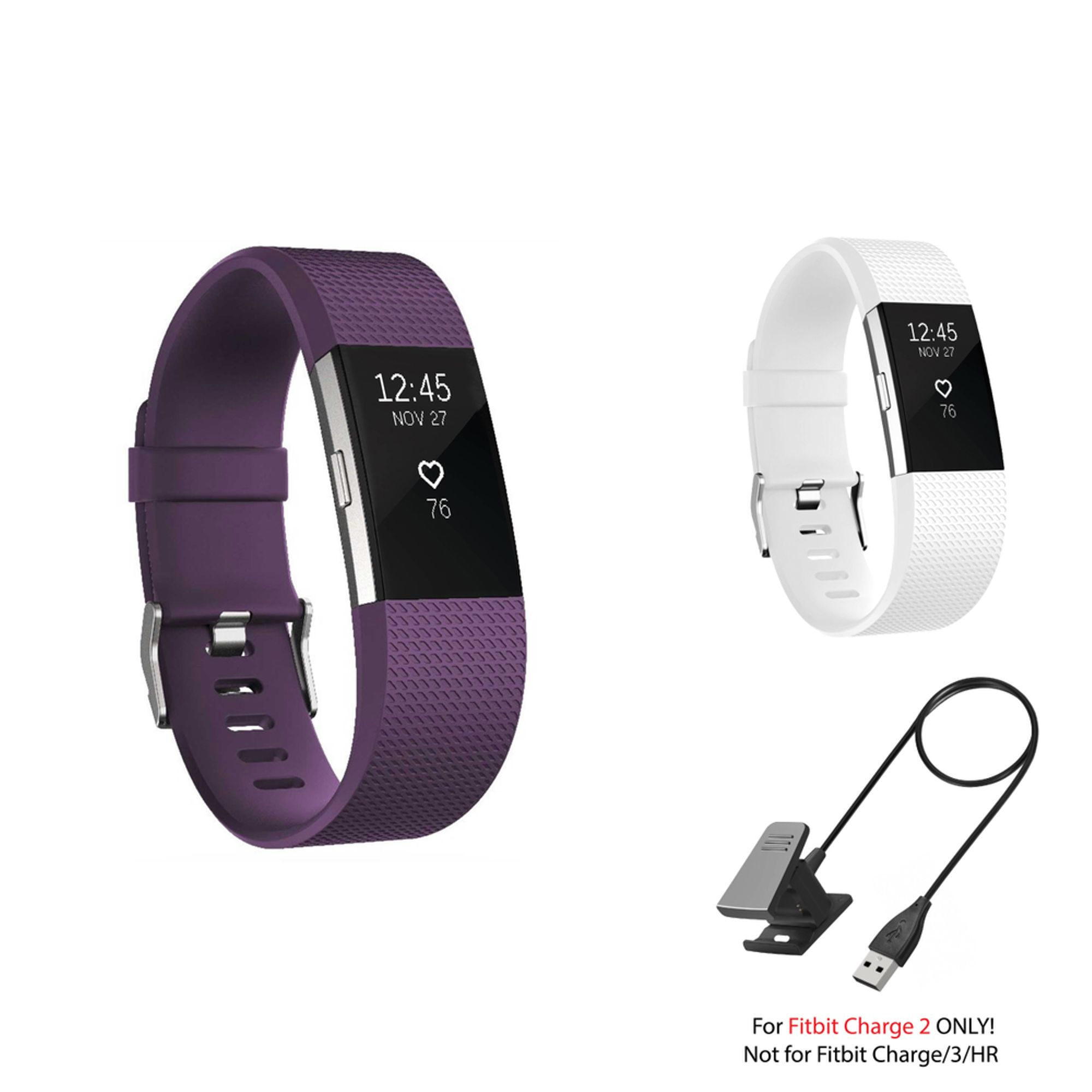 Fitbit Charge 2 Bands and Fitbit Charge 2 Charger by Zodaca 2 pack (Purple & White) Replacement Bands Rubber Wristband Fashion Sport Strap with Metal Buckle and USB Charging Cable for Fitbit Charge 2