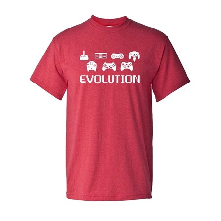 8 Bit Video (Evolution of Video Game Gamer Controller 8 Bit Classic Vintage Tee Funny Humor Pun Graphic Adult Mens T-Shirt Red)