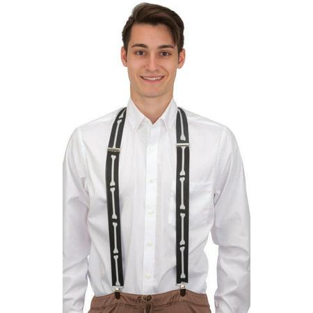Black And White Mr. Mrs. Skeleton Bone Print Bones Suspenders Costume Accessory - Mr And Mrs Incredible Halloween