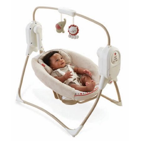 Fisher Price Spacesaver Baby Infant Cradle Swing W Music Tan Y8647