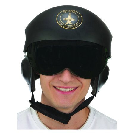 Deluxe Adult Black Fighter Pilot Helmet With Black Visor Costume Accessory