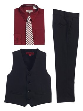 Gioberti Burgundy Black Vest Pants Striped Tie Shirt 4 Pc Formal Set