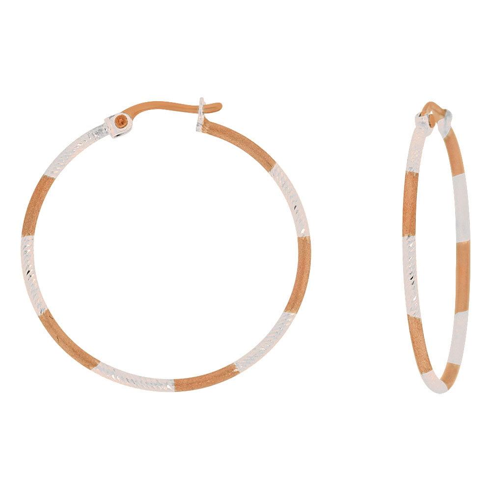 14k Rose Gold White Rhodium, Sparkly Hollow 2mm Tube Hoop Earring 30mm Inner Diameter