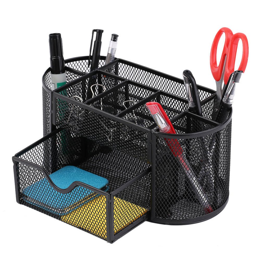 Black Mesh Metal Desktop Office Pen Pencil Holder Storage Tray Desk  Organizer With Small Notched Supply