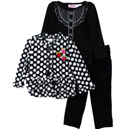 Young Hearts Rosette Black Girls Coat, Top & Pants Set (Set Jacket Shirt Pants)