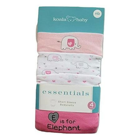 Koala Baby Essentials Short Sleeve Bodysuit Elephant 4 Pack Pink New Born - Pink Elephant Baby