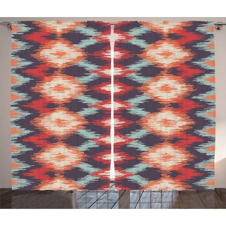 Ikat Decor Curtains 2 Panels Set, Oriental Double Batik Tie-Dye Weaving Style Graphic Ikat Forms Artisan Work, Window Drapes for Living Room Bedroom, 108W X 84L Inches, Red Orange Teal, by Ambesonne](Tie Dye Room)