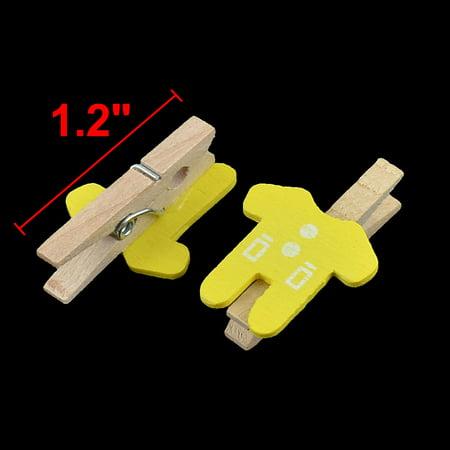 Card Photo Paper Clothes Shape Crafts Mini Wooden Clip Peg Yellow 100pcs - image 1 de 2