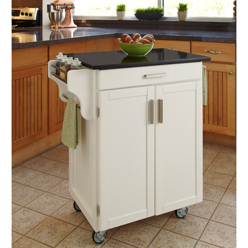 Home Styles Cuisine Kitchen Cart, White With Black Granite