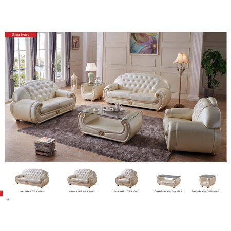 ESF Giza Contemporary Luxury Pearl Cream Leather Living Room Sofa