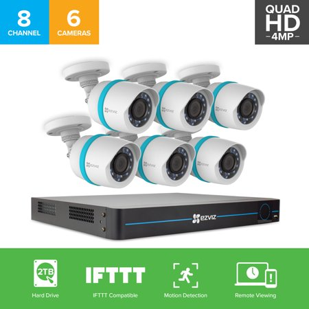 EZVIZ Quad HD 4MP Smart Outdoor IP PoE Surveillance System, 6 Weatherproof HD Security Cameras, 8 Channel 2TB NVR Storage, 100ft Night Vision, Customizable Motion Detection