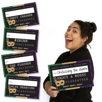 Mardi Gras - Party Mug Shots - Photo Booth Props Mardi Gras Party Mug Shots Shots - 20 Count