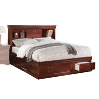 ACME Louis Philippe III Queen Bed with Storage in Cherry, Multiple Colors
