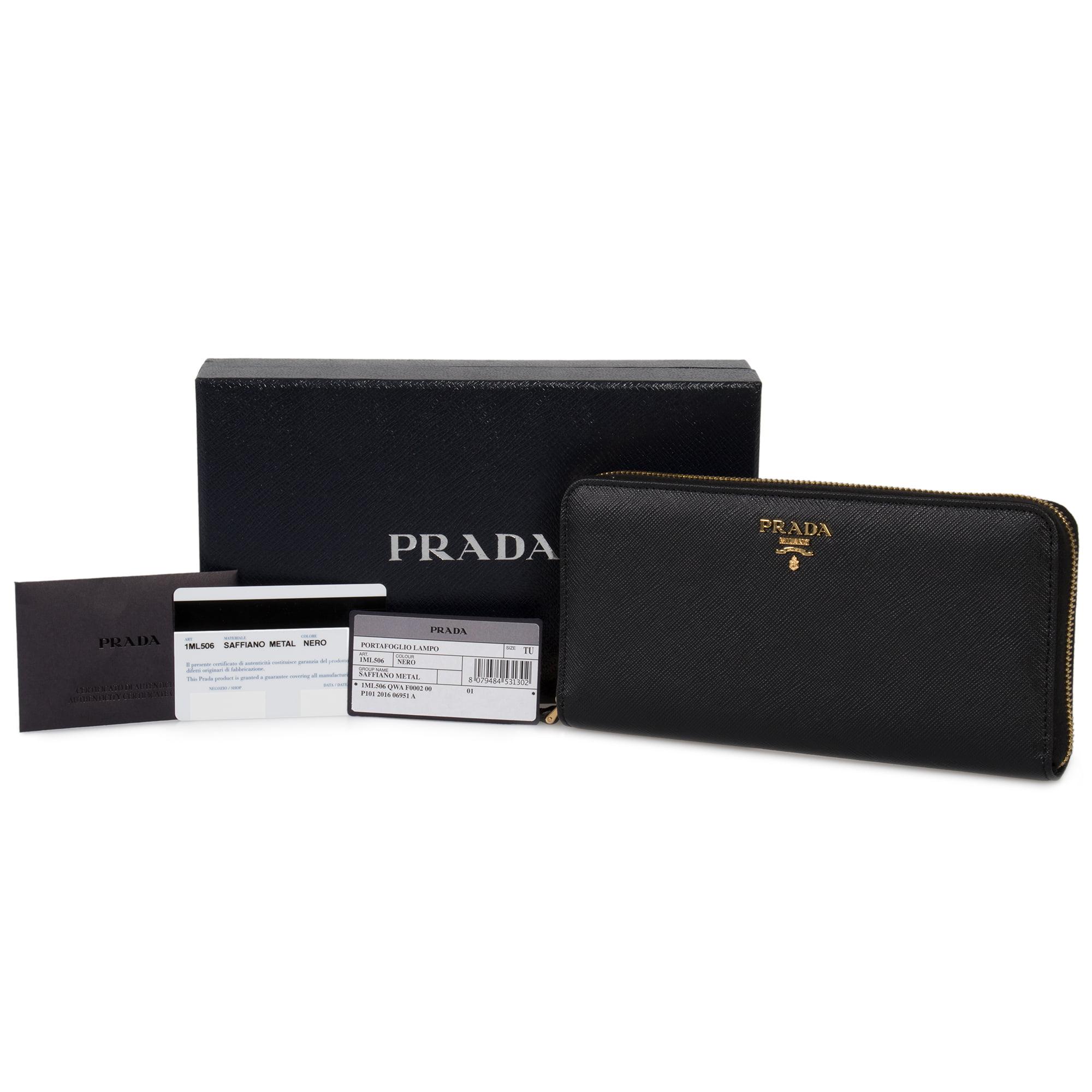 e190586692d6 Prada - Prada Black Saffiano Leather Zip-Up Wallet 1ML506 QWA F0002 -  Walmart.com