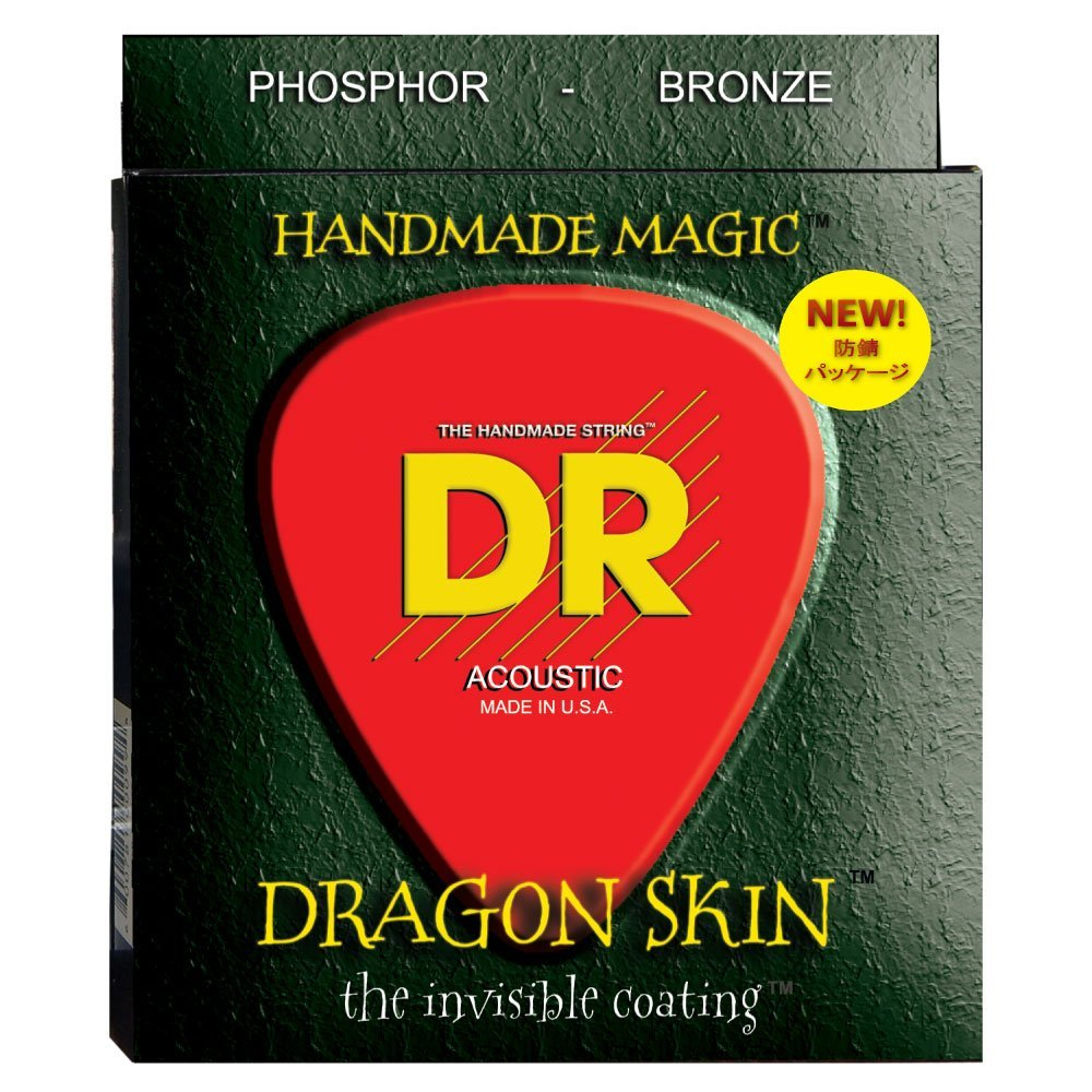 DR Strings Dragon Skin Clear Coated Phosphor Bronze Medium Strings(12-54) 2-Pack by DR Strings