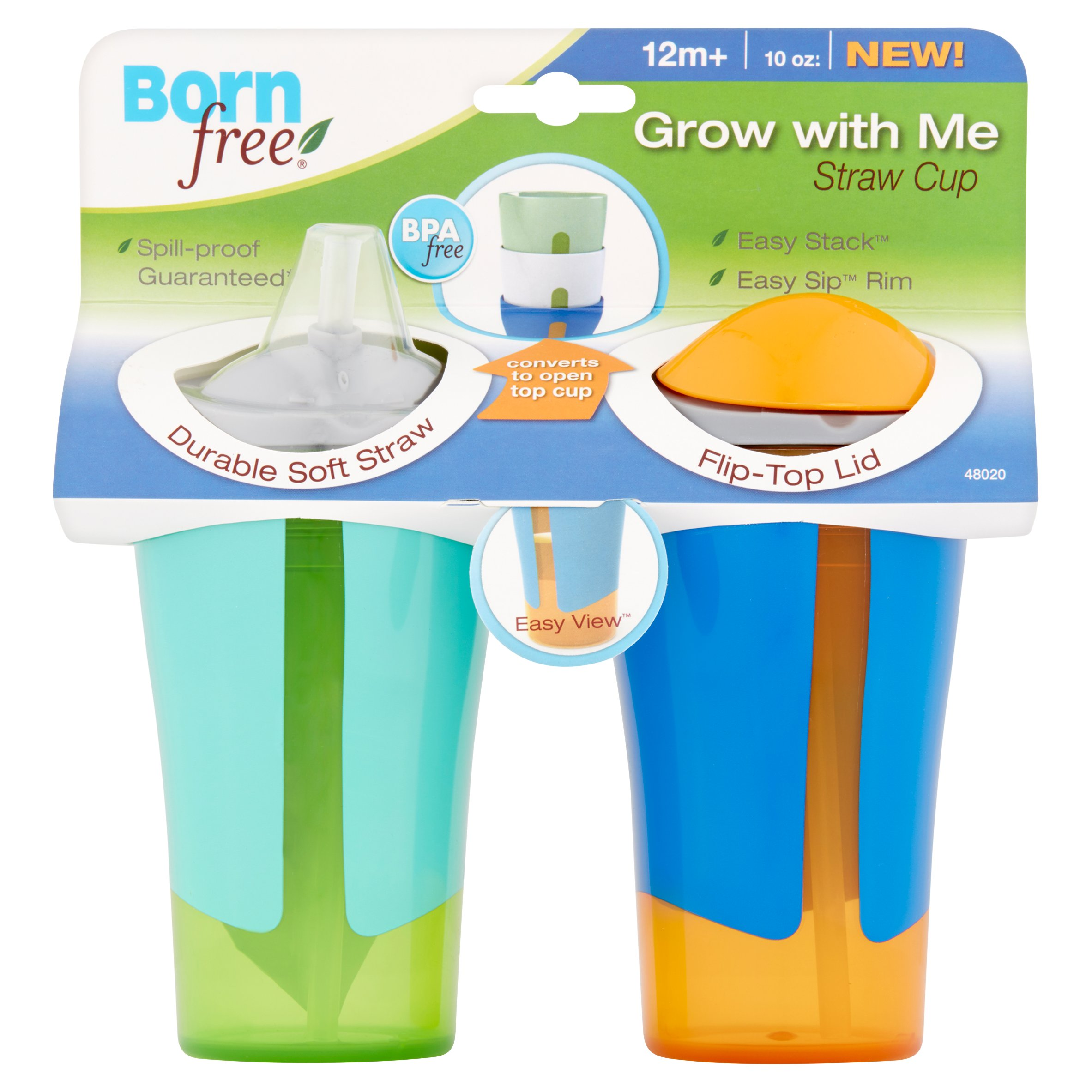 Born Free Grow With Me Straw Sippy Cup - 2 pack