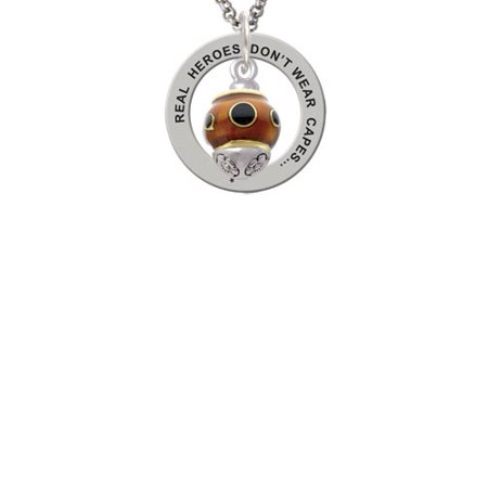 Goldtone Wide Black Dots on Translucent Brown Spinner Real Heroes Teach Affirmation Ring Necklace (Black Transparent Necklace)