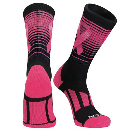 - TCK Stripes Aware Dye Sub Breast Cancer Basketball Football Crew Sock