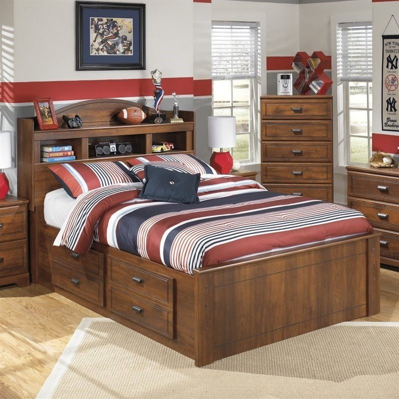 Ashley Barchan Wood Full Bookcase Double Drawer Bed in Brown