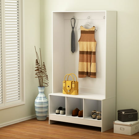 Mudroom Bench - Mainstays 3 Cube Storage Hall Tree White