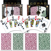 Trademark Poker 2pk Copag Jumbo Index Poker and Bridge Cards, Green/Burgundy